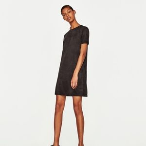 Zara l Suede Effect Short Sleeve Dress Small